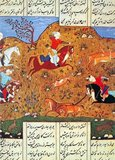 A Persian miniature is a small painting on paper, whether a book illustration or a separate work of art intended to be kept in an album of such works called a muraqqa. The techniques are broadly comparable to the Western and Byzantine traditions of miniatures in illuminated manuscripts. Although there is an equally well-established Persian tradition of wall-painting, the survival rate and state of preservation of miniatures is better, and miniatures are much the best-known form of Persian painting in the West, and many of the most important examples are in Western, or Turkish, museums.<br/><br/>  Miniature painting became a significant Persian genre in the 13th century, receiving Chinese influence after the Mongol conquests, and the highest point in the tradition was reached in the 15th and 16th centuries. The tradition continued, under some Western influence, after this, and has many modern exponents. The Persian miniature was the dominant influence on other Islamic miniature traditions, principally the Ottoman miniature in Turkey, and the Mughal miniature in the Indian sub-continent.
